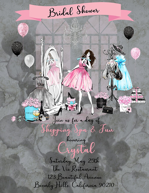 Chanel Shopping Bridal Shower Invite (sold in sets of 10)