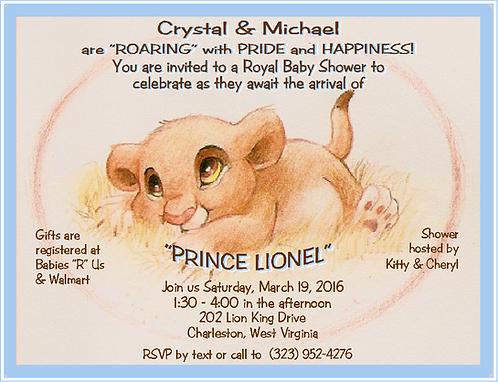 #4 Lion King Prince Baby Shower Invitation