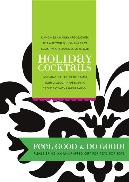 Cocktails Holiday Party and  Event Invitation