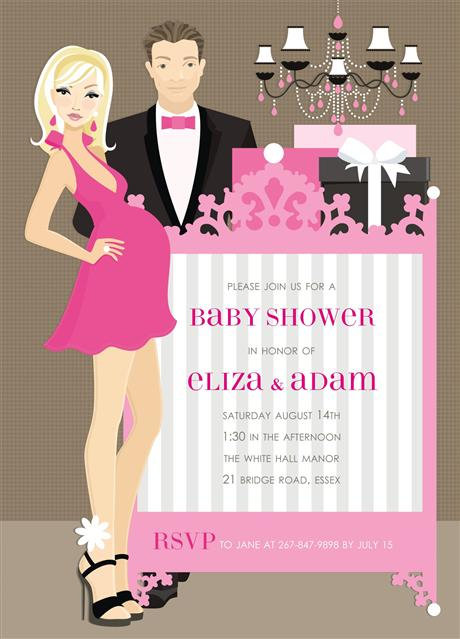 Pink Couples Trendy Elegant Crib Keepsake Baby Bottles Invitations