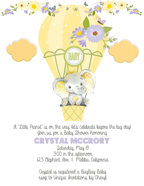 Yellow Elephant Baby Shower Invitations (sold in sets of 10)