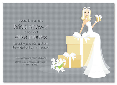 Blonde Bride on Gift Bridal Shower and  Event Invitation
