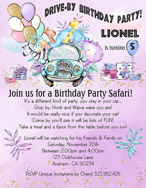 Dino Fun Safari Drive-By Birthday Party Invitation (sold in sets of 10)
