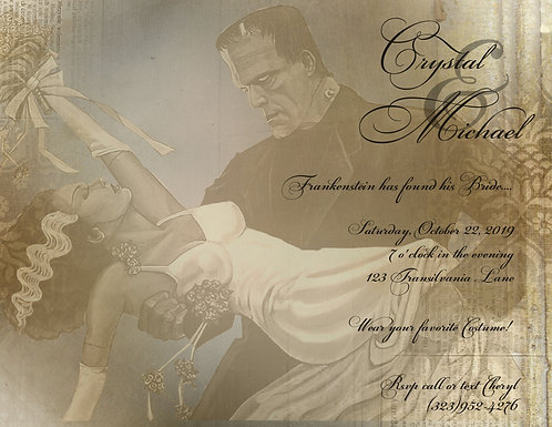 Bride of Frankenstein Wedding / Event Invitation (sold in sets of 10)