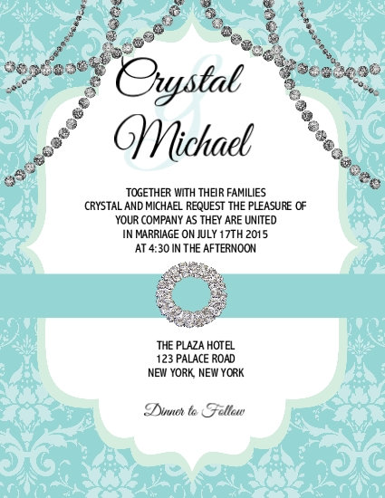 Tiffany Beads Wedding  / Event Invitation