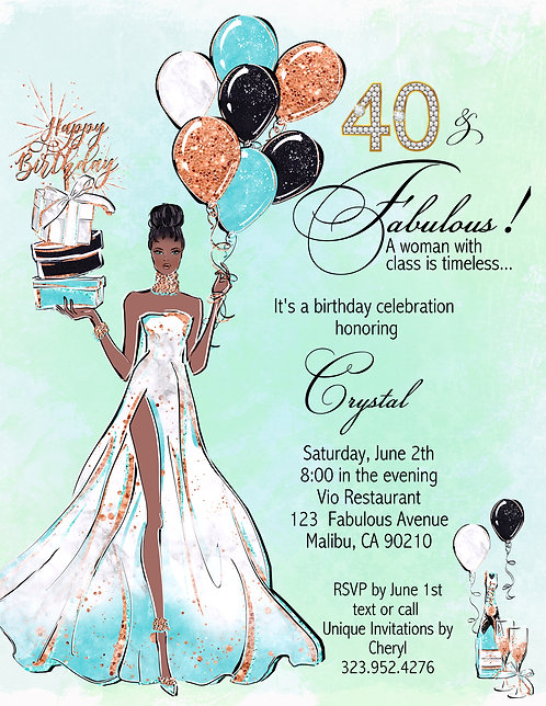 African American Fabulous Me Balloons Birthday Invitation (sold in sets of 10)