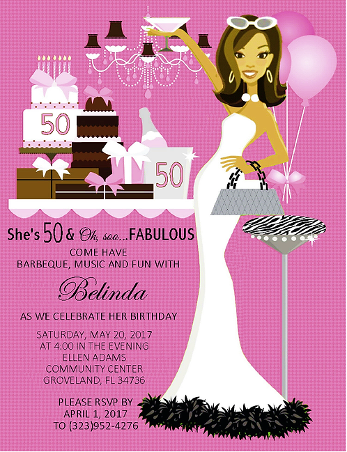 Fabulous Me Pink! Birthday Party and  Event Invitation