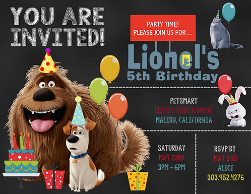 The Secret Life of Pets Birthday Party Invitation