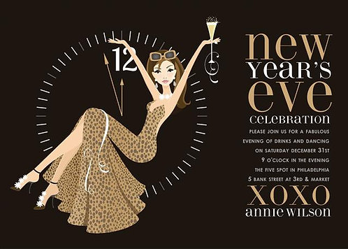 Brunette Gold New Year's Holiday Party and  Event Invitation