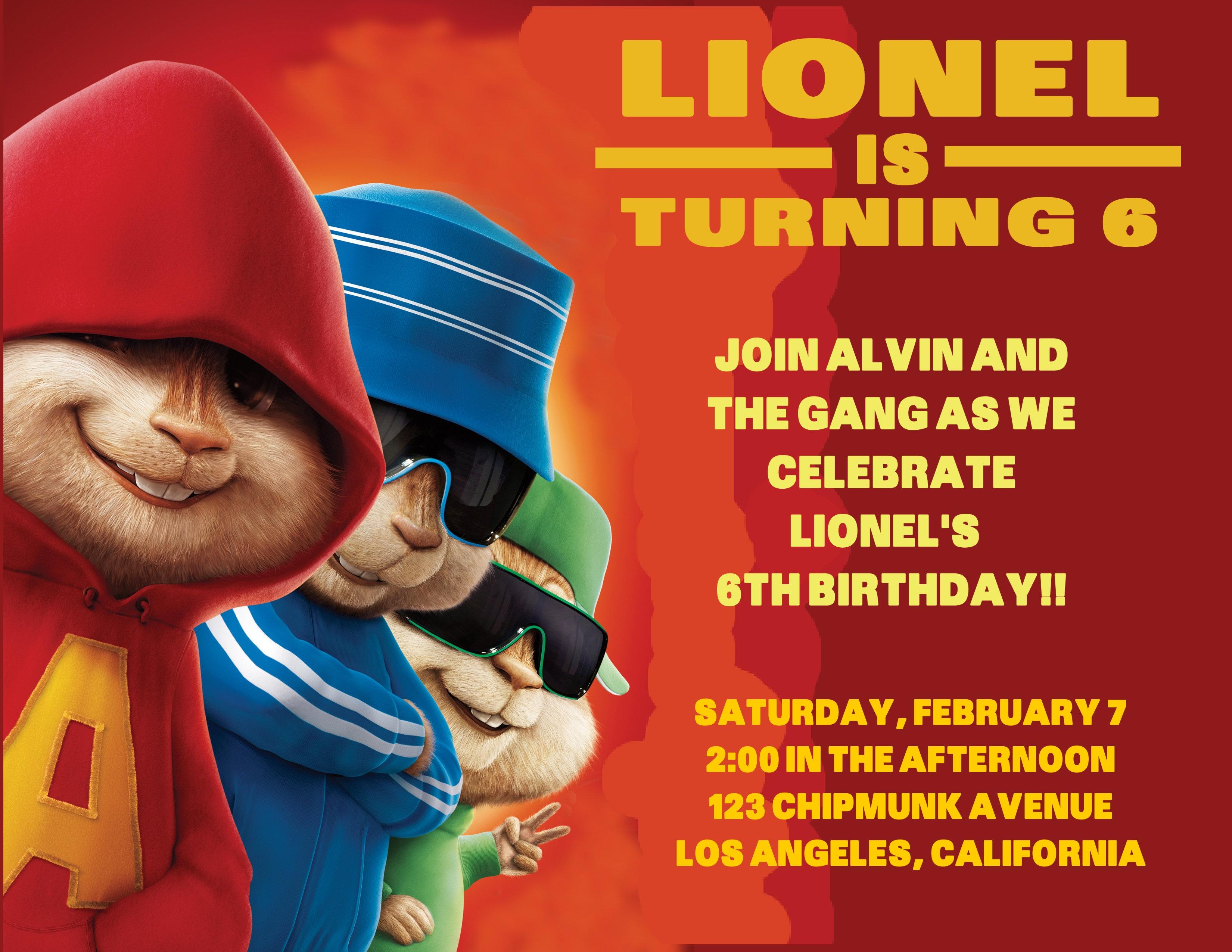 2 Alvin The Chipmunks Birthday Party Invitations