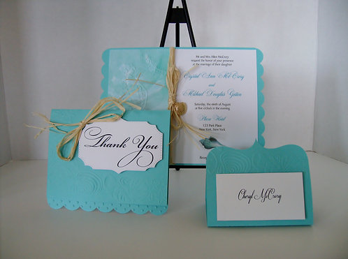 Embossed Beach Seahorse Wedding and Event Invitation
