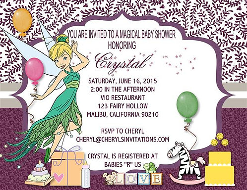 Tinkerbell Baby Shower Invitations