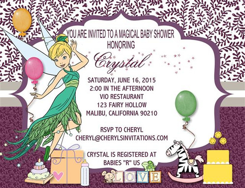 Tinkerbell baby shower invitations tinkerbell keepsake baby shower bottles card invitations filmwisefo