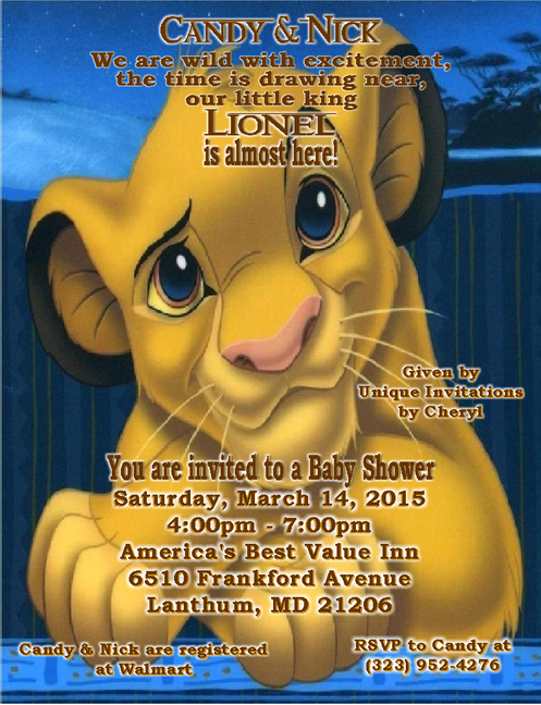 2 Lion King Baby Shower Invitations
