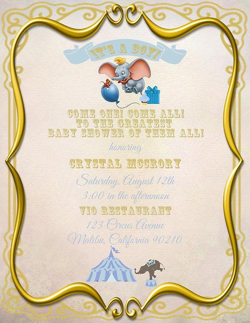 Dumbo Baby Shower Invitation