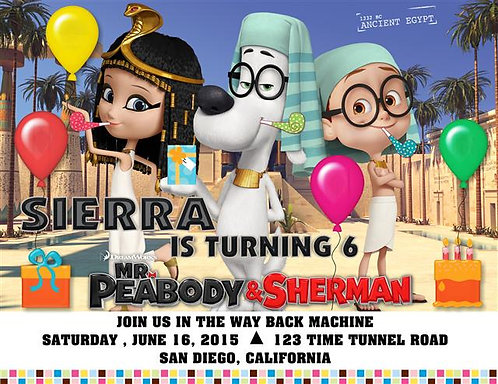 Peabody and Sherman Egyptian Birthday Party Invitation