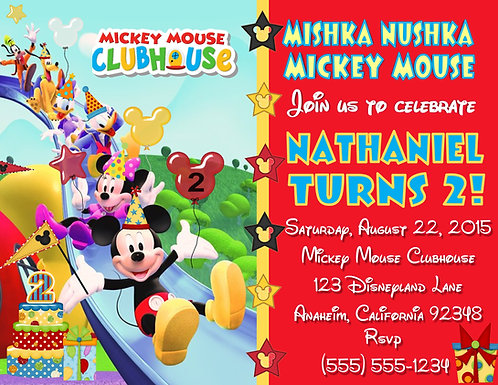 Mickey Mouse Slide Clubhouse Birthday Party Invitation