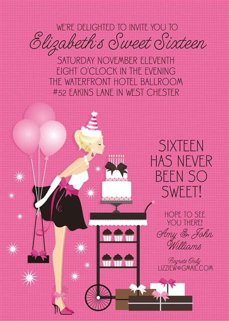 Blonde Sweet 16 Party and  Event Invitation