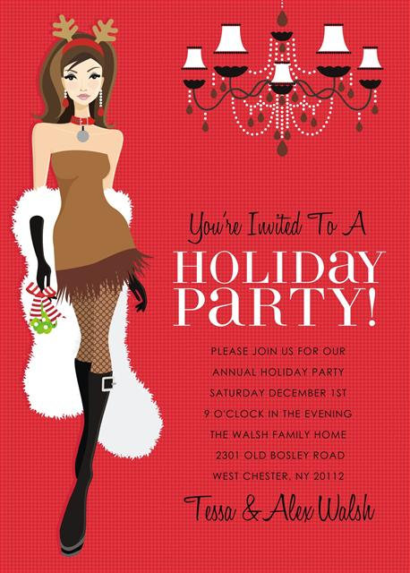 Brunette Reindeer Holiday Celebration Party and  Event Invitation