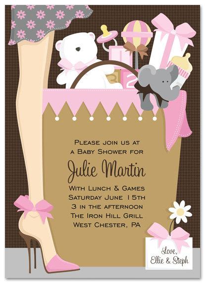 Pink Stylish Mom Baby Shower Invitations