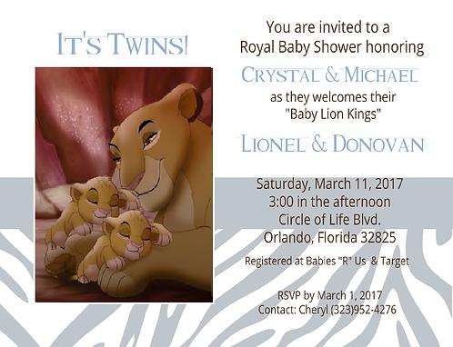#2 Lion King Prince Twins Keepsake Baby Bottles Invitations