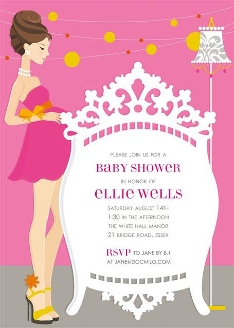 Brunette Elegant Pink Crib  Baby Shower Invitations