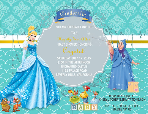 Cinderella  Baby Shower Invitation