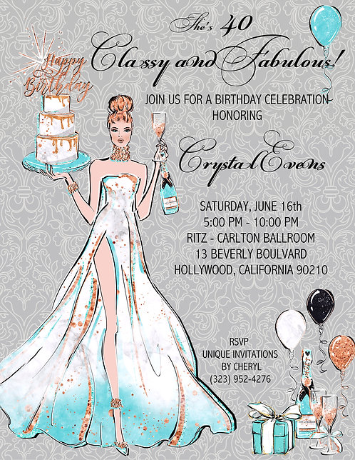 Fabulous Me Cake & Champagne Birthday Party Invitation (sold in sets of 10)