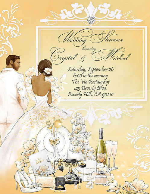 African Amer. Golden Couple's Champagne Shower Invitation (sold in sets of 10)