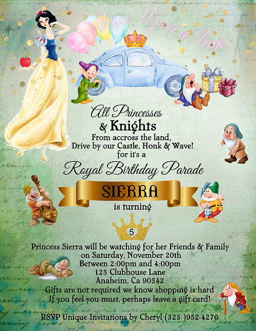 Princess Snow White's Drive-By Birthday Party Invitation (sold in set of 10)