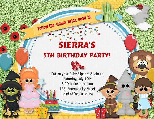Oz Birthday Party Invitation