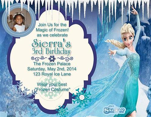 Elsa Frozen Magic Birthday Party Invitation