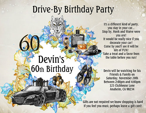 Men's Drive-By Birthday Invitation (sold in sets of 10)