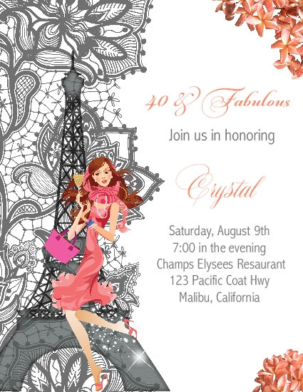 Paris Coral 40 & Fabulous Birthday Party and  Event Invitation