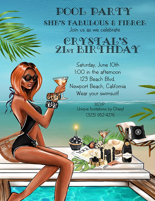 African American Fierce Lady Pool Party Invitation (sold in sets of 10)