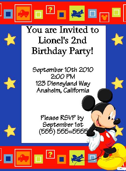 Mickey Stars Birthday Party Invitation