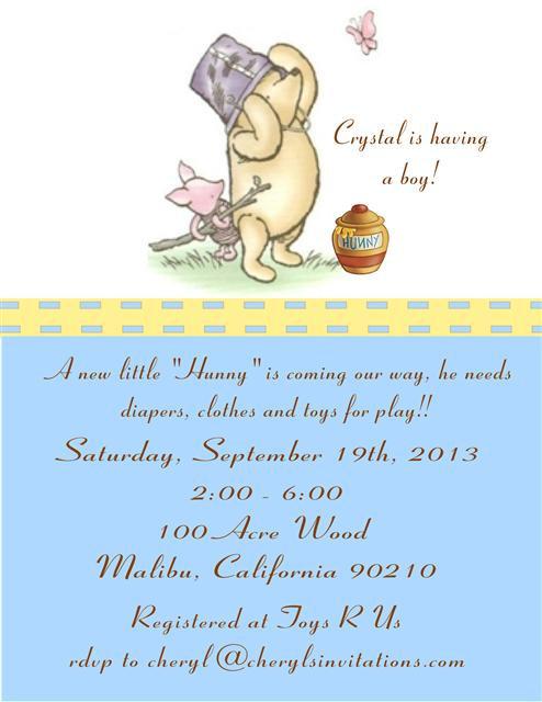 Blue Classic Pooh Bear Baby Shower Invitation