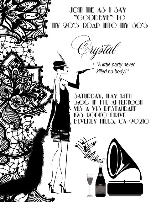 #2 Gatsby Black Lace Birthday Party and  Event Invitation