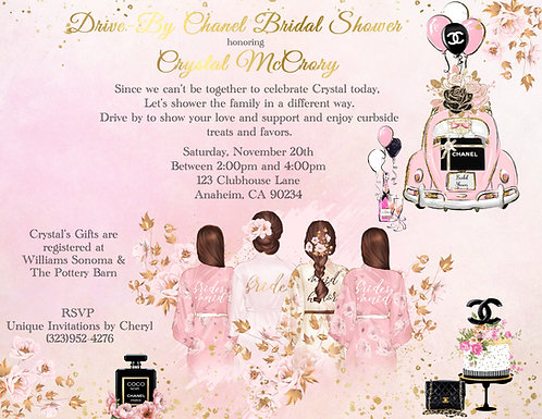 Chanel Drive-By Brunette Bridal Shower Invitation (sold in sets of 10)