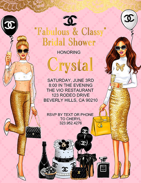 Chanel Cocktail Bridal Shower & Event Invitation (sold in sets of 10)