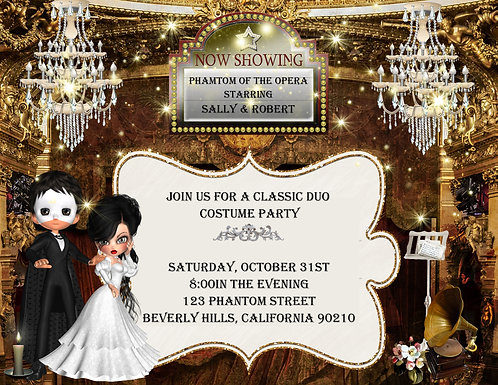 Phantom of the Opera Ticket Costume Party and  Event Invitation