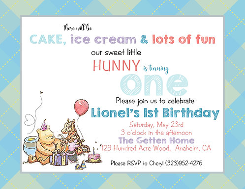 Pooh Classic Fun Birthday Invitation (sold in sets of 10)