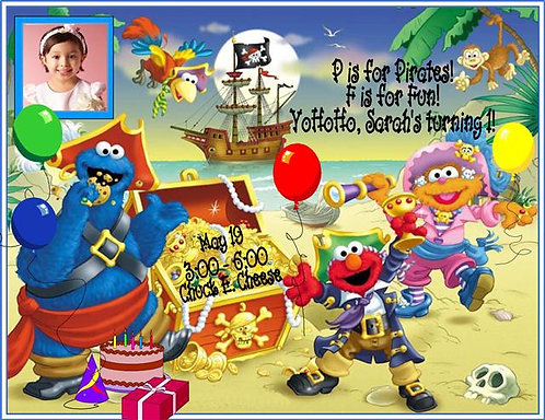 #2 Sesame Street Pirate Birthday Party Invitation