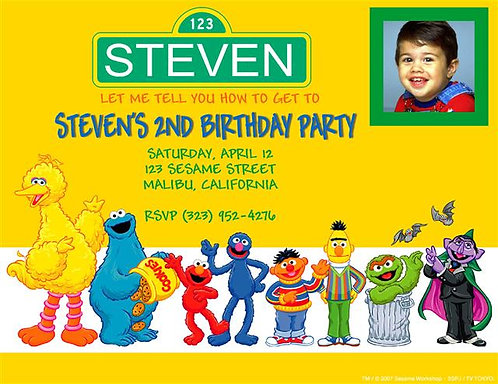 Sesame Street Gang Birthday Party Invitation