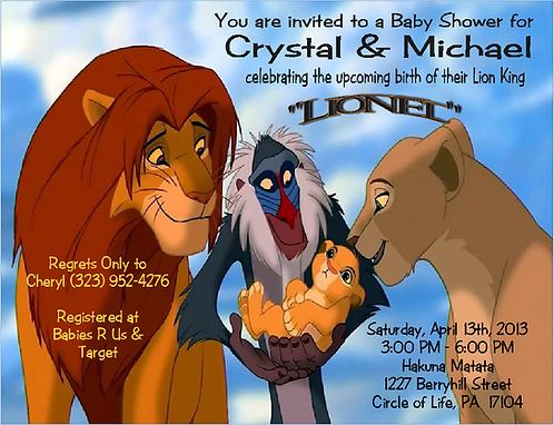 #6 Lion King  Baby Shower Invitations