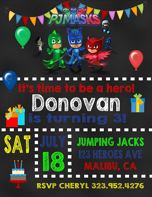 PJ Masks Party and  Event Invitation (sold in sets of 10)