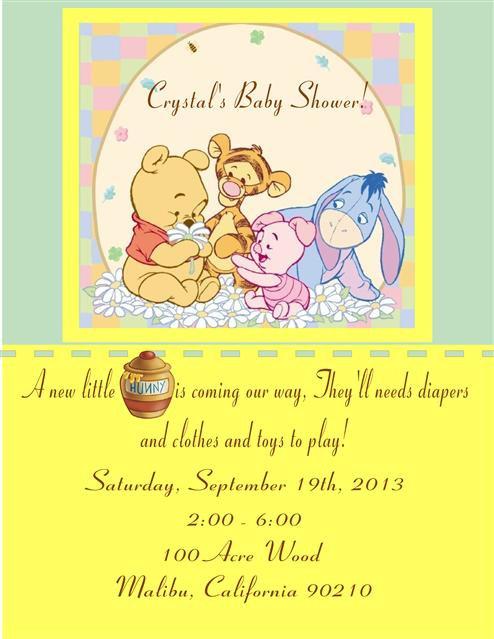 Baby Pooh Gang Baby Shower Invitation
