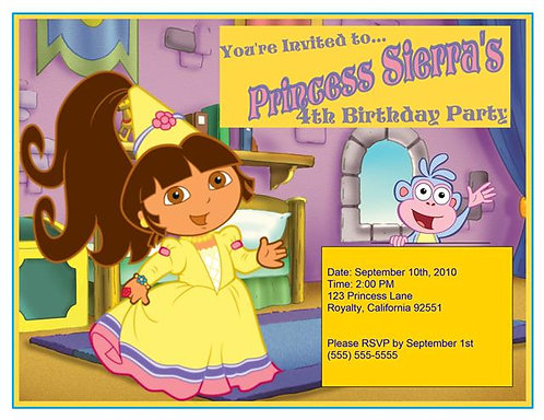 Room for a Princess Dora Birthday Party Invitation
