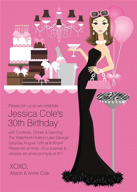 Sophisticated Lady Birthday Party and  Event Invitation