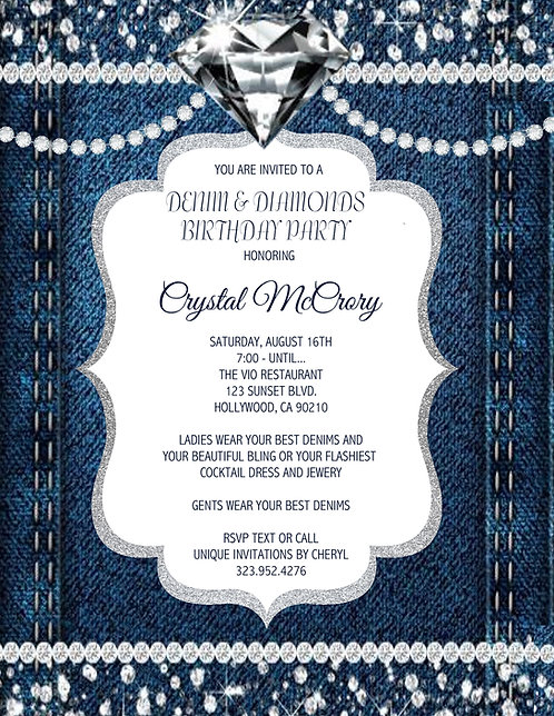 Denim & Diamond Birthday Sparkle Invitation (sold in sets of 10)